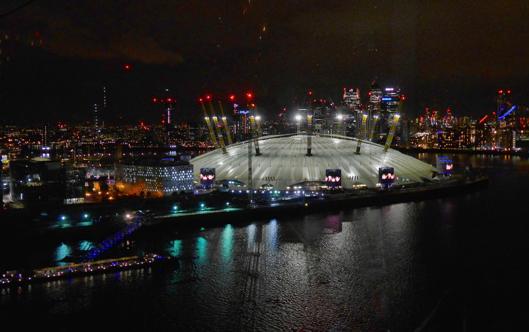 Millennium Dome, London, at night